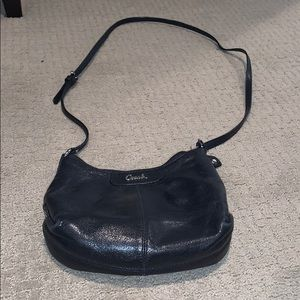 Small black leather crossbody